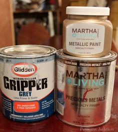 Martha Stewat Metallic Paint Tutorial, Petticoat Junktion to make furniture silver
