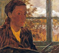 """Women in the Act of Painting: 1947, Lotte Laserstein, """"Self-Portrait in Brown"""" Private Collection"""