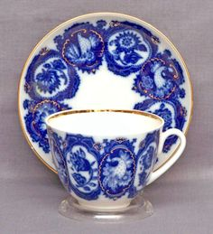 Lomonosov Russian Porcelain Cobalt Necklace Teacup and Saucer