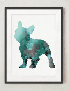 French Bulldog Decor Set of 3 Art Prints Teal by ColorWatercolor