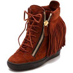 Giuseppe Zanotti Lorenz Wedge Sneakers ($875) ❤ liked on Polyvore
