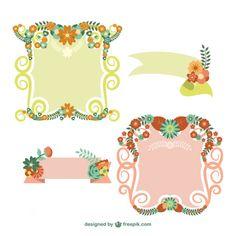 Frames florais e banners vector set Vetor grátis
