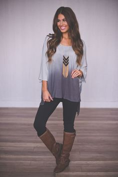 Dottie Couture Boutique - Grey Ombre Tunic, $38.00 (http://www.dottiecouture.com/grey-ombre-tunic/)