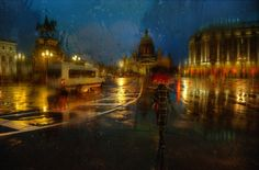 Eduard Gordeev's cityscape scenes distinctly capture the moody ambiance of dark skies and rain-soaked streets. Petersburg-based photographer often Rainy Day Photos, Rainy Street, Rainy City, Street Painting, City Scene, Petersburg Russia, Dark Skies, Street Photography, Cityscape Photography