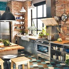 Amazing Industrial Kitchen for Your Home. There are some materials that are often used in the interior design of industrial kitchen, such as, concrete steel pallets, stainless steel plate, ste. Kitchen Interior, Dream Kitchen, Brick Kitchen, Brick Wall Kitchen, Kitchen Remodel, Kitchen Decor, Industrial Kitchen Design, New Kitchen, Home Kitchens