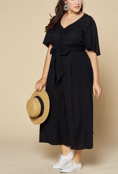 Button Down Self-Tie Jumpsuit in plus size and missy size. Such a great versatile spring and summer wardrobe staple. Plus Size Fashion For Women, Plus Size Women, Crepe Fabric, Black Jumpsuit, Summer Wardrobe, Chic Outfits, Boutique Clothing, Plus Size Outfits, Going Out