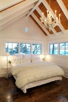 bedroom at the top of the house, windows all around. // what a beautiful, relaxing bedroom this looks like. - Model Home Interior Design Dream Bedroom, Home Bedroom, Pretty Bedroom, Bedroom Decor, Bedroom Ceiling, Bedroom Windows, Airy Bedroom, Attic Bedroom Ideas Angled Ceilings, Shabby Bedroom