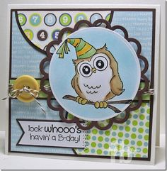 Birthday Whoot Set (4125) card by Frances Byrne - Stamp Owl