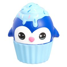 this curious penguin got itself stuck in a cupcakecake and is now eating icing. Cake Squishy, Slime And Squishy, Polymer Clay Christmas, Cute Polymer Clay, Cute Squishies, Kawaii Jewelry, Toy R, Cute School Supplies, Diy Holiday Gifts