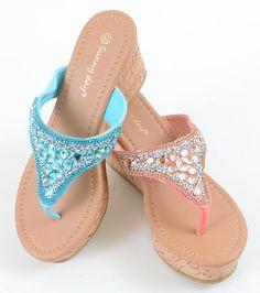 Gemstone Cork Platform Vegan Wedge Sandals Women's