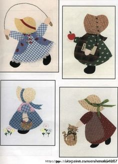 Patterns are here for all of these Sunbonnet Sue's