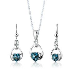 Sterling Silver Rhodium Finish 2.25 carats total weight Heart Shape London Blue Topaz Pendant Earrings and 18 inch Necklace Set . $49.99