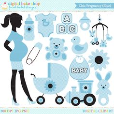Chic Pregnancy Digital Clip Art - Blue