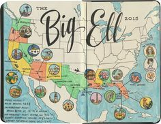 """I just got home from a 4200-mile road trip; my favorite way to capture the """"big picture"""" is to sketch out a map of the highlights at the end of the journey."""