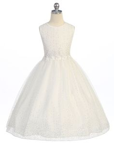 Glitter Flower Raindrop Sprkle Ivory Dress With Flower Beat