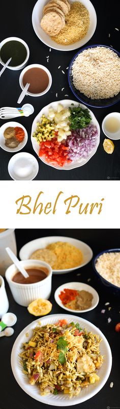Bhel Puri is a delicious Indian snack, popularly categorized as Chaat (Street food).  It has puffed rice as the base and other condiments are added to give an array of flavors and texture. The perfect evening snack.