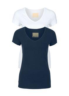 fdecc522cf Pachet dublu de tricouri damă cu decolteu în V alb bleumarin lei bonprix