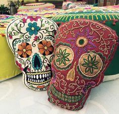 """Calavera Sugar Skull """"Dia de los Muertos"""" Beaded Cushion Pillow - My Sugar…"""
