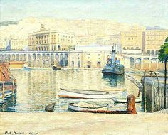 Algérie - Peintre Paul-Élie Dubois, (1886-1949), Technique: Huile sur toile, Titre: Le port d'Alger