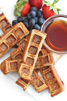 Two breakfast classics come together in these easy to make and fun to eat French Toast Waffle Sticks. No forks needed! French Toast Waffles, French Toast Sticks, Cinnamon French Toast, Brunch Recipes, Baby Food Recipes, Cooking Recipes, Chef Recipes, Yummy Recipes, Healthy Recipes