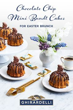 (Don't need their chocolate, pretty pricey.)Try these adorable Mini Bundt Cakes at your Brunch Table! For best results use Ghirardelli Quality Chocolate like our Semi-Sweet Chocolate Chips and Chocolate Bunnies filled with luscious Caramel! Mini Desserts, Just Desserts, Delicious Desserts, Dessert Recipes, Easter Desserts, Bundt Cakes, Cupcake Cakes, Cupcakes, Easter Recipes