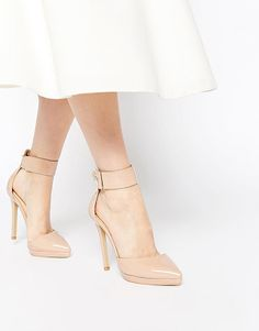 On SALE at 42% OFF! Darcy ankle strap heeled shoes by Ax Paris. Shoes by AX Paris, Smooth faux leather upper, Glossy finish, Wide ankle strap fastening, Pointed toe, Wipe with a dam...