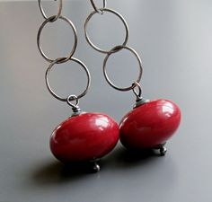 Handmade  Earrings    Oxidized Silver Glass Earrings by hildes, $26.00