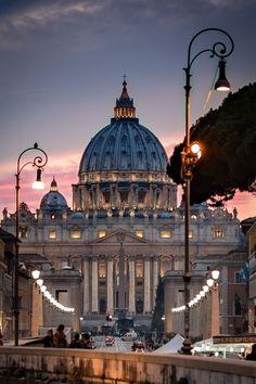 St Peter's Basilica, Rome, at sunset.