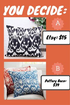 Found this kantha throw pillow on etsy which is an exact replica of a pottery barn pillow in different color but much cheaper. Etsy: https://www.etsy.com/listing/226870929/black-and-white-kantha-pillow-cover?ref=shop_home_active_8 Pottery Barn: http://www.potterybarn.com/products/kantha-embroidered-pillow-cover/?pkey=cdecorative-throws-pillows%7Cembroidered-patterned-pillows%7C&  #throwpillow #pillow #kantha #india #potterybarn #etsy