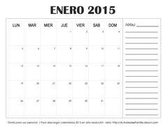 A organizar el mes: 5 diseños de Enero 2015 para imprimir y personalizar.: Calendario con espacio para notas