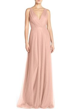 Free shipping and returns on Monique Lhuillier Bridesmaids Sleeveless V-Neck Chiffon Gown (Nordstrom Exclusive) at Nordstrom.com. A pleat-softened bodice with a pretty crossover neckline gives way to the floaty gathers of a graceful chiffon dress with a cascading skirt that overlaps in front and falls to a floor-skimming train in back.