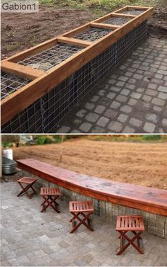 "gabion seating on top of 24"" tall x 15"" thick gabions http://www.gabion1.com"