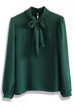Take a Bow Blouse in Evergreen - Retro, Indie and Unique Fashion