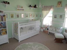 cute idea: line the walls with similarly-sized pictures www.thebump.com