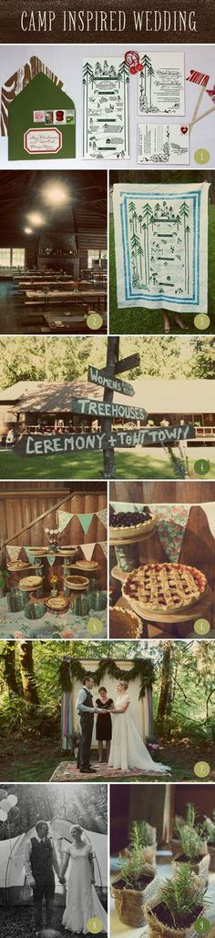 1. Camp-style stationary inspiration. We'll definitely need a map since our wedding is in the middle of the forest 2. Our wedding will be in a dining hall like this one. 3. Big signage! This is a DIY project! 4. More signage 5. Dessert table with different types of desserts on different layers. 6. Pies included 7. Outdoors ceremony 8. Guests are welcome to camp the night with us! 9. Herbs as favors. #CupcakeDreamWedding Venue: Camp Lane, Photographer: Steep Street, Invitations: Paisley Quill