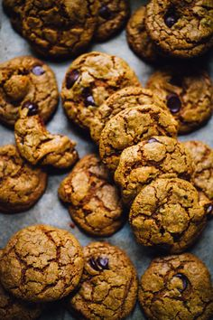 Chocolate Chip Cashew Butter Cookies with Turmeric, Teff, and Dried Apple