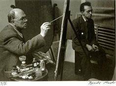 Edward Hopper painting at his easel with Raphael Soyer by Reginald Marsh