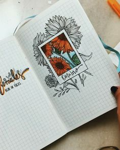 bullet journal - yellow - sun flower - spring - outubro  Bullet journal layout inspiration