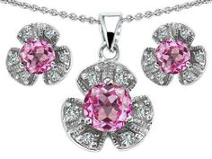Original Star K(tm) Created Pink Sapphire Flower Pendant Box Set With Matching Earrings in 925 Sterling Silver Star K. $79.99. Free High End Jewerly Box and Gift Packaging. Certificate of Authenticity Included with this item. Star K. Designs are exclusive and protected by Copyright Laws. Free Lifetime Warranty exclusively offered by Finejewelers. Guaranteed Authentic from the Star K designer line