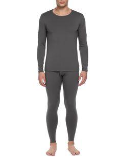 abc38953b Mens Thermal Set 2 Piece Long Johns Cotton Blend Shirts and Leggings S-XXL  - Dark Gray - C8186T2H4GM
