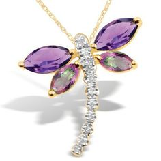 10k Yellow Gold Amethyst and Mystic Topaz Diamond Dragonfly Pendant Necklace