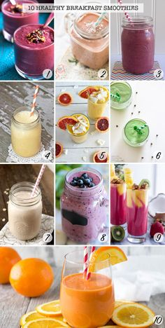 Love these healthy breakfast smoothie recipes - great for days when we need to get up and get out!