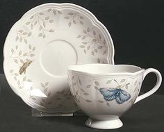 Footed Cup & Saucer Set in Butterfly Meadow by Lenox