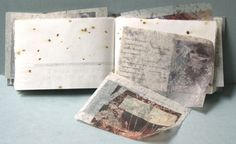 "I write what I know on one side of the page and what I don't know on the other - artists book by Robin Ami Silverberg | The title for this book, a line from the poem ""Paper"" by Carl Sandburg, was watermarked into the paper, which was then burnt and folded to form pockets. The 20 pockets hold translucent paper sheets with phenomenological musings on a series of dreamscapes and architectural spaces. The 20 texts were written from the artist's dreams in the months after 9/11."
