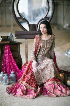 Pakistani couture by Ansab Jahangir Pakistani Couture, Pakistani Wedding Dresses, Pakistani Outfits, Indian Dresses, Indian Outfits, Pakistani Sharara, Wedding Lehanga, Bridal Lehenga, Desi Bride