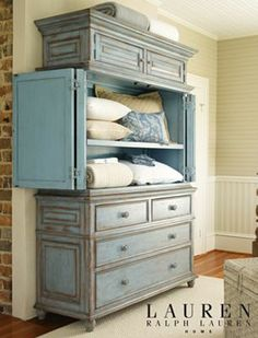 This armoire for the bedroom is stunning! I love the color and the character it provides, not to mention the storage! Willowwood Road Sugarberry Armoire, from Lauren Ralph Lauren ♥ Paint Furniture, Furniture Projects, Furniture Makeover, Home Furniture, Bedroom Furniture, Tv Armoire, Armoire Redo, Painted Armoire, Linen Cupboard