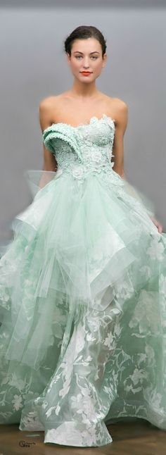 Mint wedding dress with a #sheer skirt could totally use a #LuxxieBoston #maxi