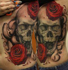 Red Roses and Skull Tattoo - John Anderton http://tattoosflower.com/red-roses-and-skull-tattoo-john-anderton/