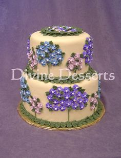 Garden Party 2 - 8 inch and 6 inch stacked yellow cake with yellow buttercream icing.   Flowers are royal icing piped with tip 129 (3 for centers).  Stems and leaves are buttercream with piping gel, tips 3 and 67.