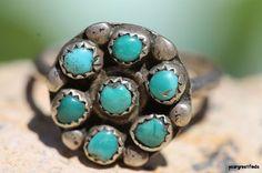 Vintage  Southwestern Zuni Style 925 Sterling Silver Snake Eye Turquoise Ring